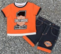 0e7bc2bf6 ... baby clothes at Leather Bound Online. Toddler Harley-Davidson t-shirt  and denim shorts outfit #harleykidsclothes