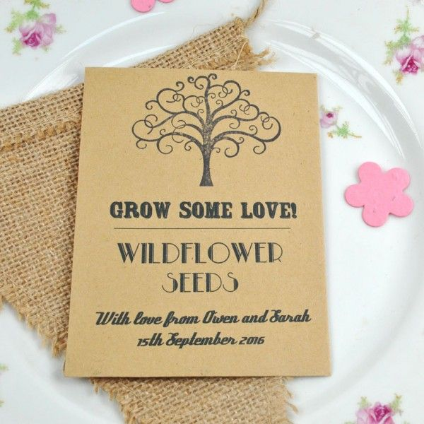 Recycled Seed Packet Wedding Favour With British Wildflower Seeds