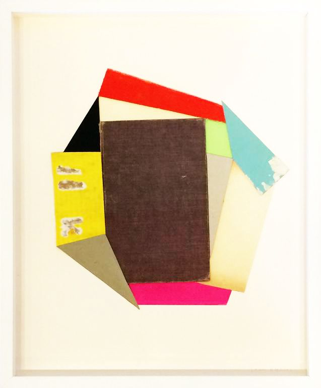 """Lauri Hopkins """"Sung Tongs"""", 2014 Acrylic, book covers, book pages and cardboard. 15.7 x 19.7 inches"""