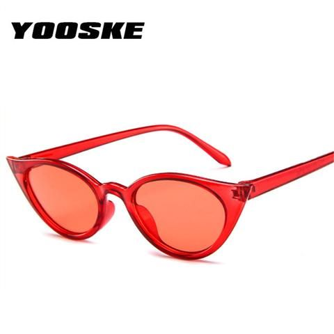 18c4ed3d46 YOOSKE Women Small Cat Eye Sunglasses Luxury Brand Designer Sun Glasses Red ladies  Sunglass 2018 Female Cateye Mirror UV400
