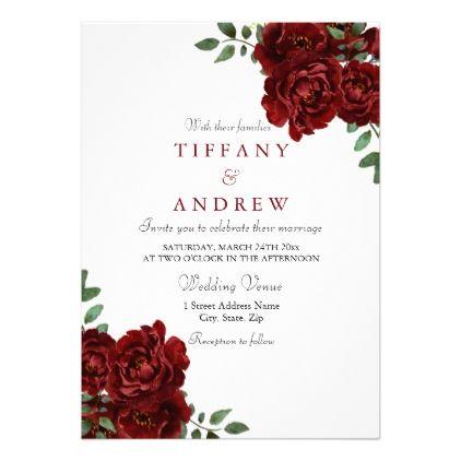 Elegant Burgundy Red Rose Modern Wedding Invite Wedding