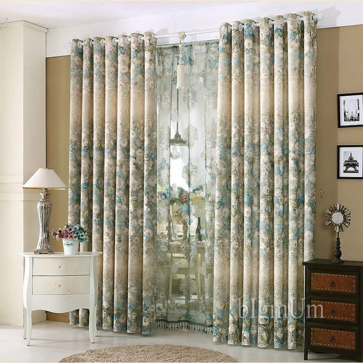 Luxury Window Curtains For Living Room Bedroom Hotel Printed Jacquard