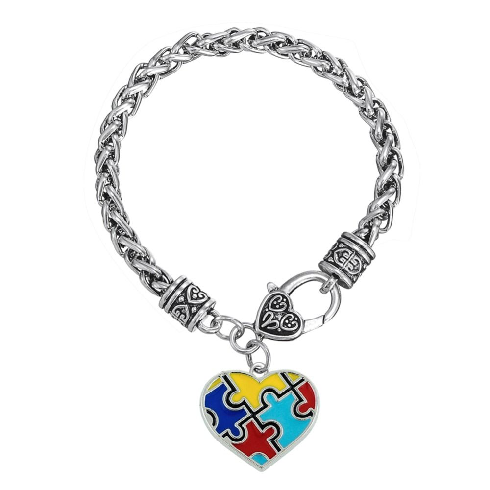 Skyrim Enamel Puzzle Piece Heart Autism Charm Lobster Clasp Thick Wheat Chain Bracelet Jewelry Drop Shipping
