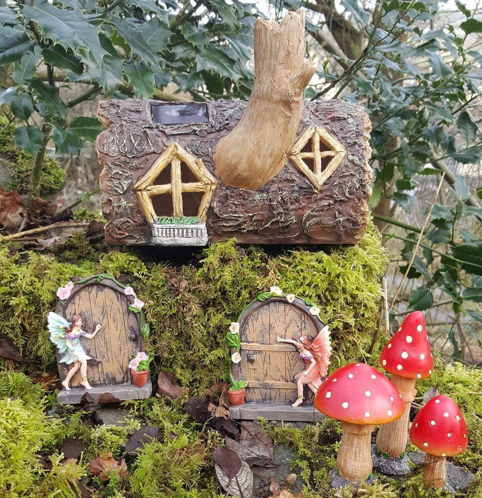 Fairy lawn ornaments - Solar Powered Garden Fairy House Log Fairy Doors And Mushrooms Colour Changing Lawn Ornamentsgarden