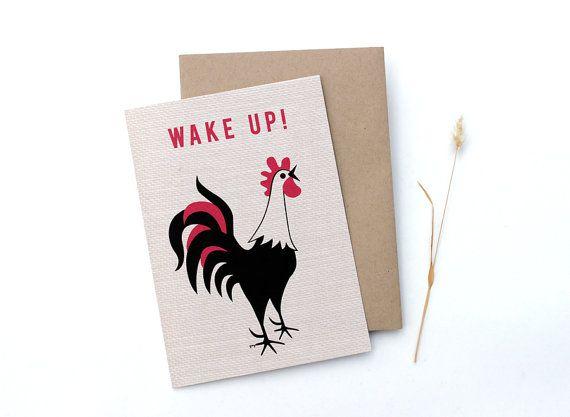 Handmade Greeting Card, Funny Greeting Card, Rooster Card, Blank Greeting Card, Rooster Gift