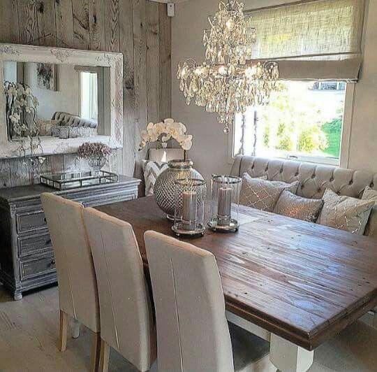 Rustic Glam Dining Space This Is The Idea I Want For Our First Floor Living Area Except That A Wood Ceiling Vs Wall In Pic
