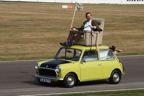 Mr beans mini (with Mr. Bean sitting on top of it)