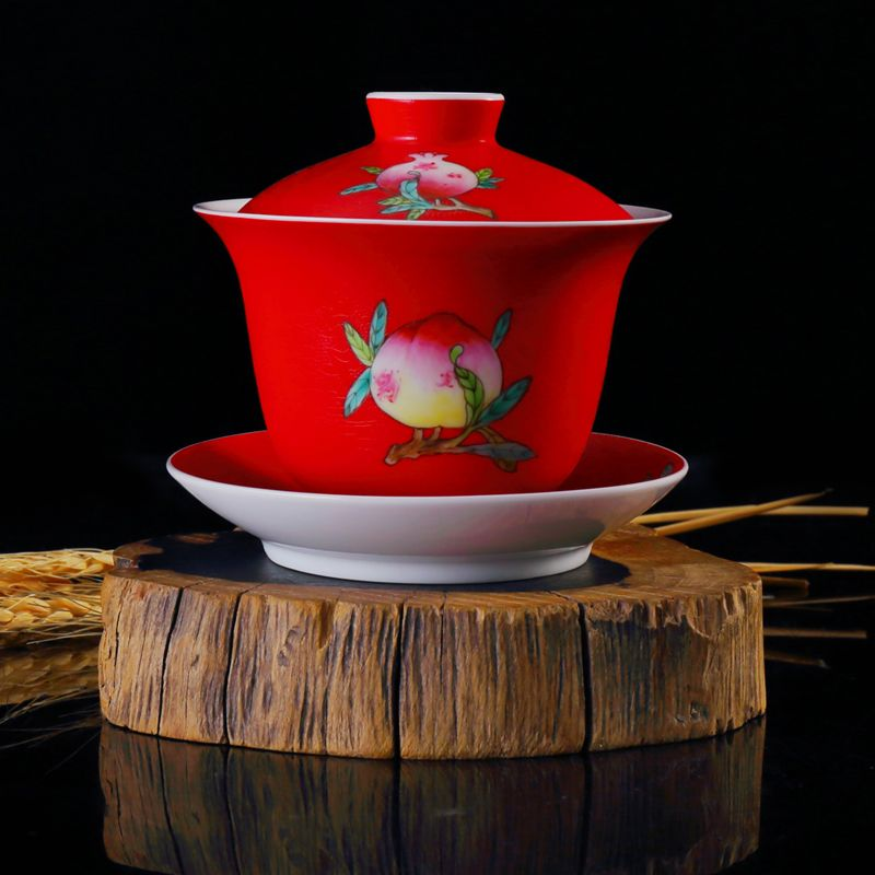 Red porcelain tea cup gaiwan with handpainted peach