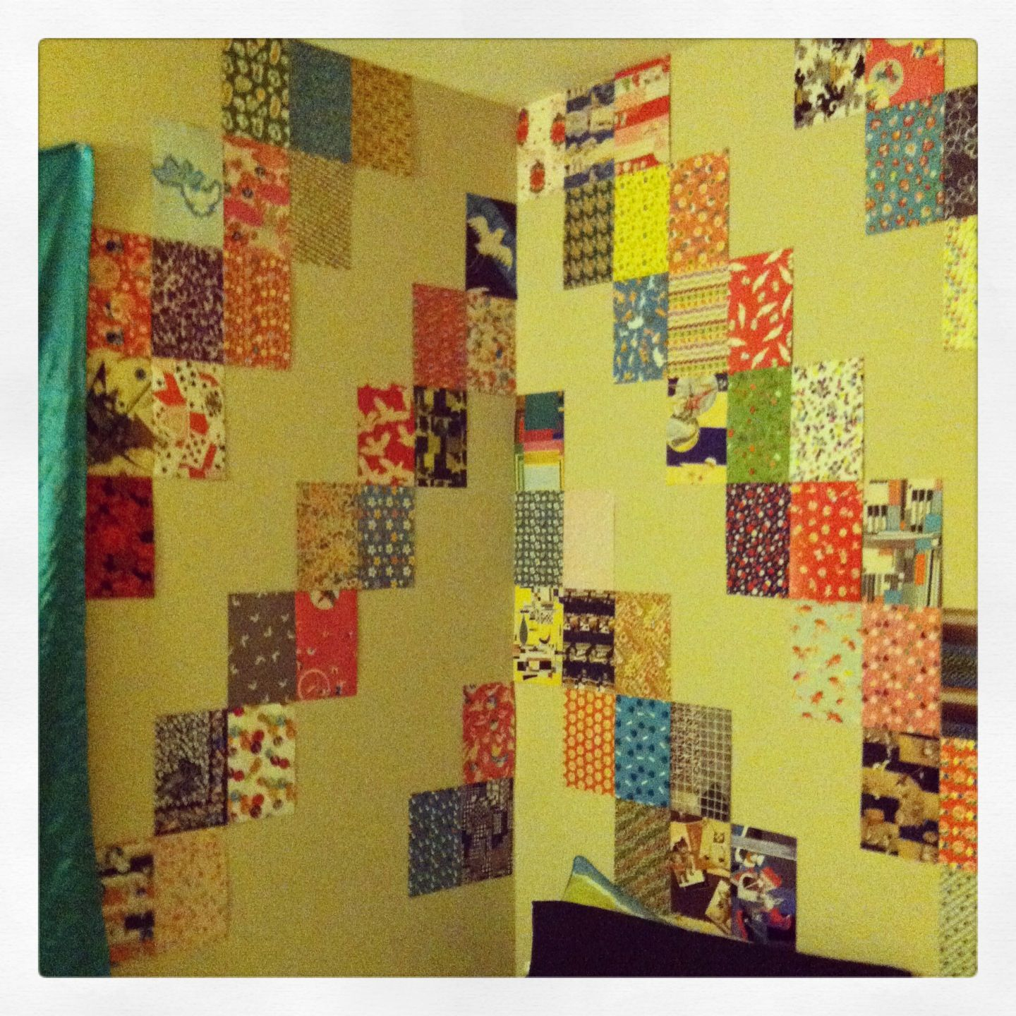 Cheap Apartment Wall Art - cut pages from a book of vintage fabric ...