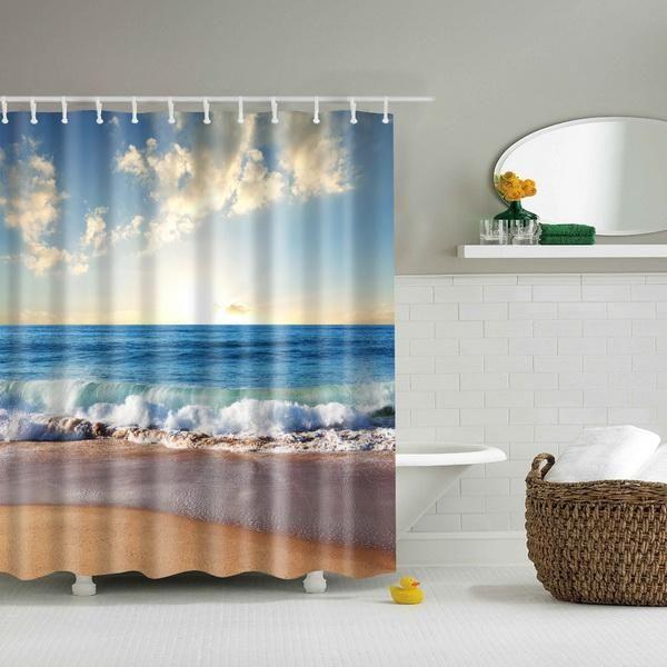 Ocean Beach Scene Shower Curtain 5 Variants Beach Shower