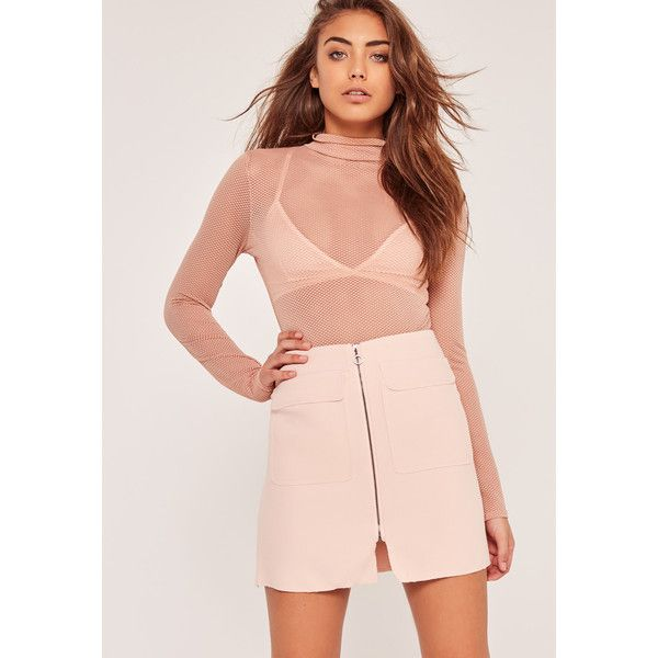 Missguided Zip Front Mini Skirt ($18) ❤ liked on Polyvore featuring skirts, mini skirts, pink, short skirts, mini skirt, front zip skirt, short mini skirts and short pink skirt