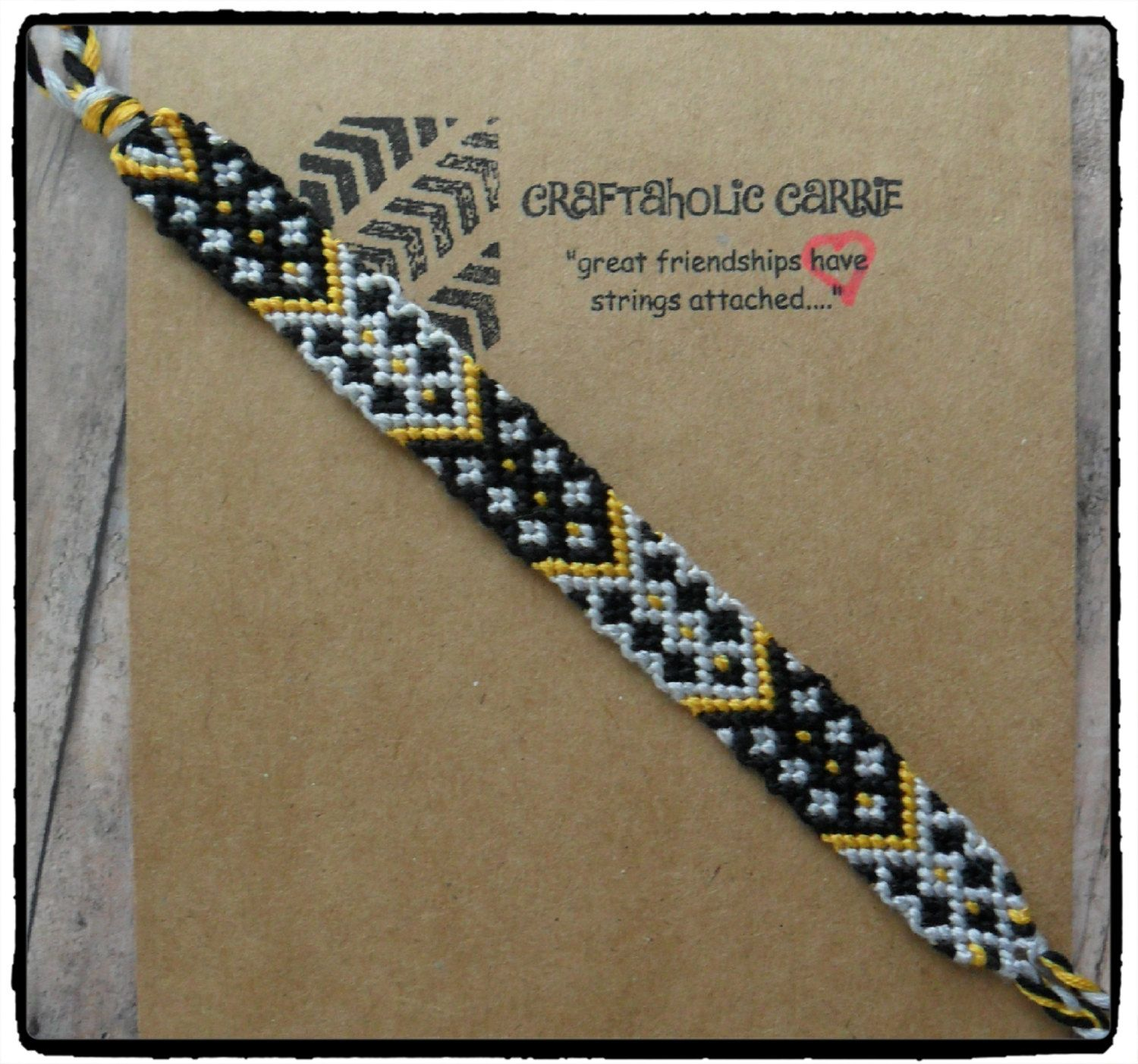 New Years Themed Woven Friendship Bracelet by CraftaholicCarrie on Etsy