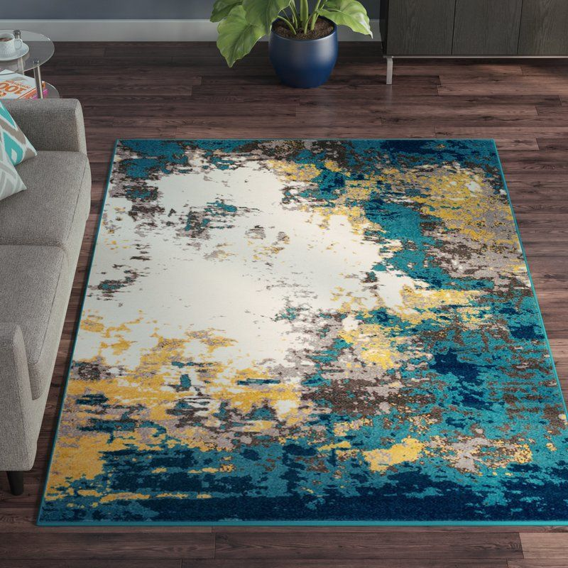 Shuff Abstract Blue Area Rug Area Rugs Yellow Carpet