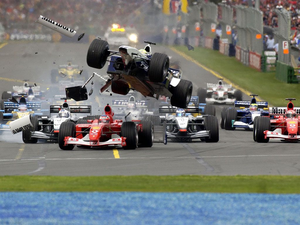great capture of a f 1 car being launched in the air thank goodness for the advancements in. Black Bedroom Furniture Sets. Home Design Ideas