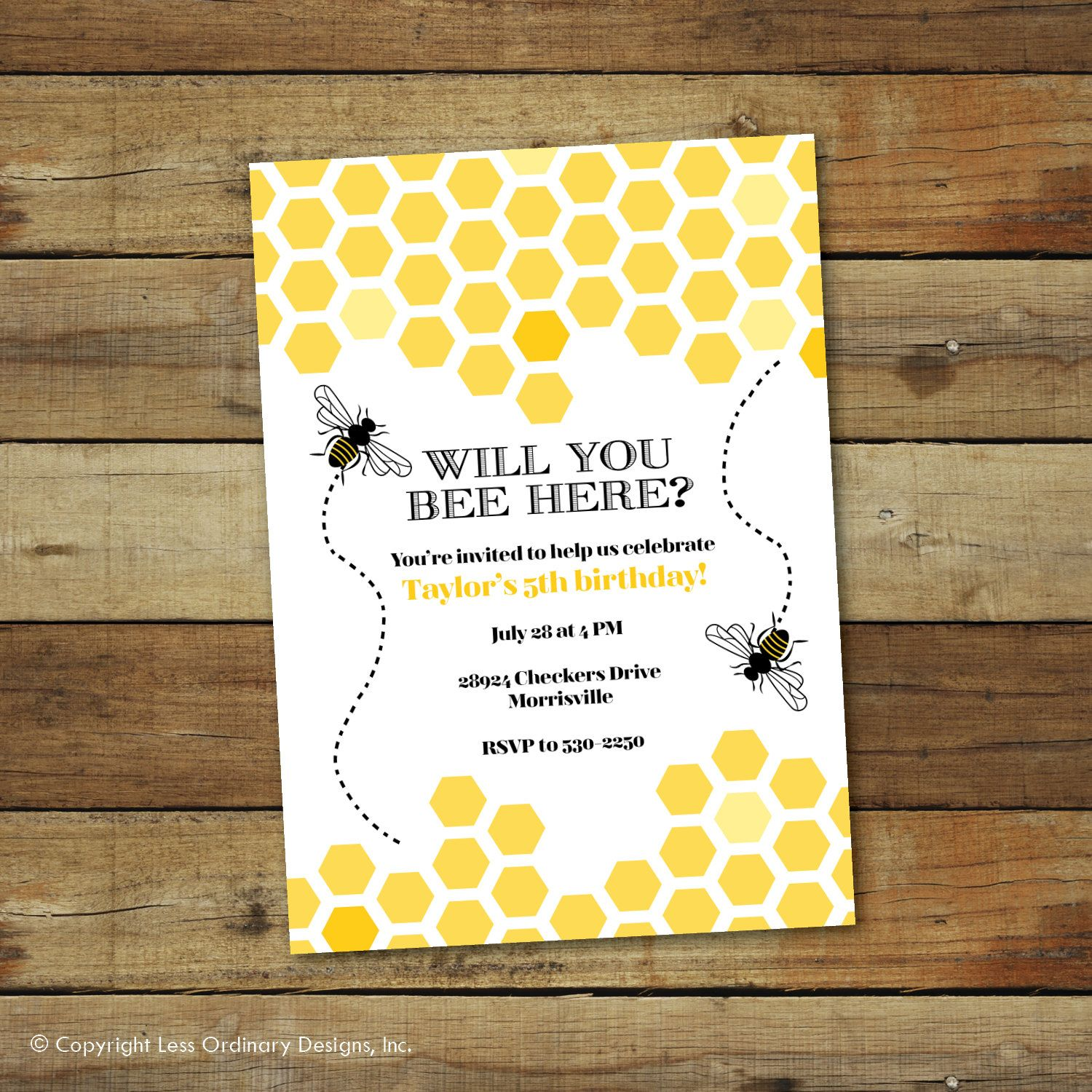 Bumble Bee Birthday Party Invitation Hive Theme Yellow And Black Printable Or Printed