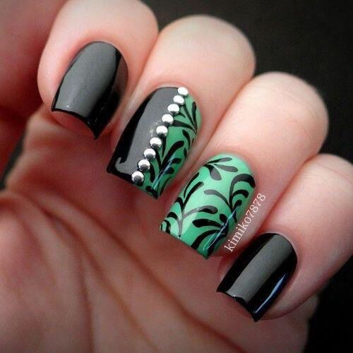 Love the half nail design. Nice green and black combination. - Black & Green Nails Pinterest