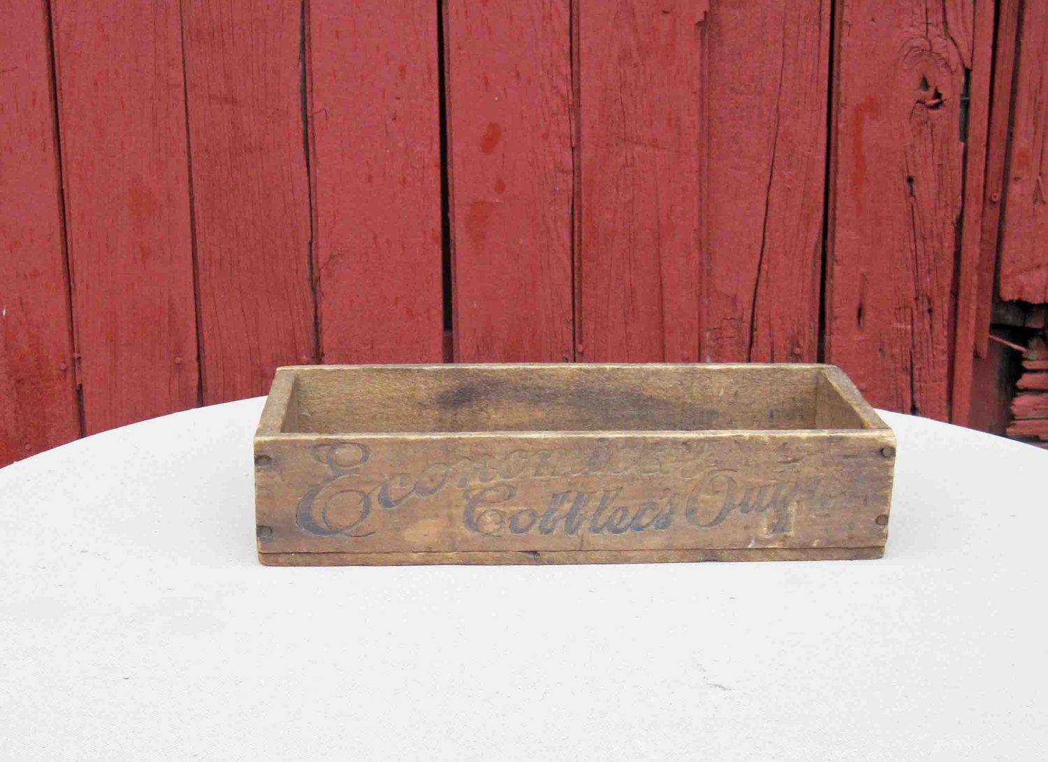 """Economical Cobblers Outfit Wooden Primitive Box 13"""" Advertising Wood Crate by Incredibletreasures on Etsy"""
