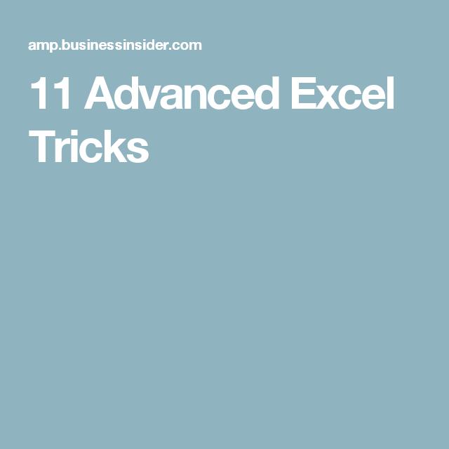 11 advanced excel tricks excel pinterest pivot table