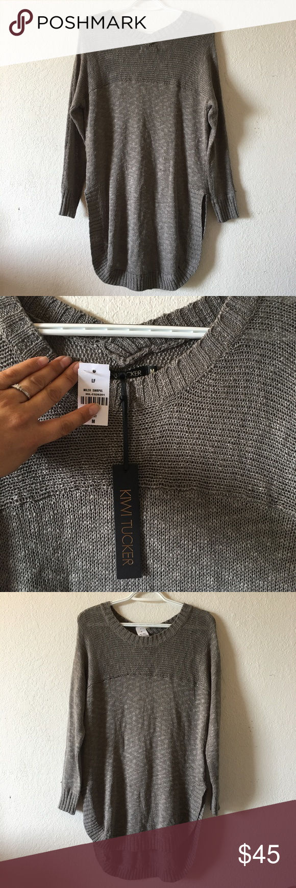LF Kiwi Tucker Sweater Medium NWT NWT! Retail: $144 Size Medium Grey / olive green in color Price is firm! LF Sweaters