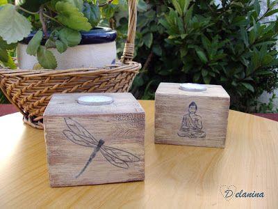 Portavelas hechos con tacos de madera de palets