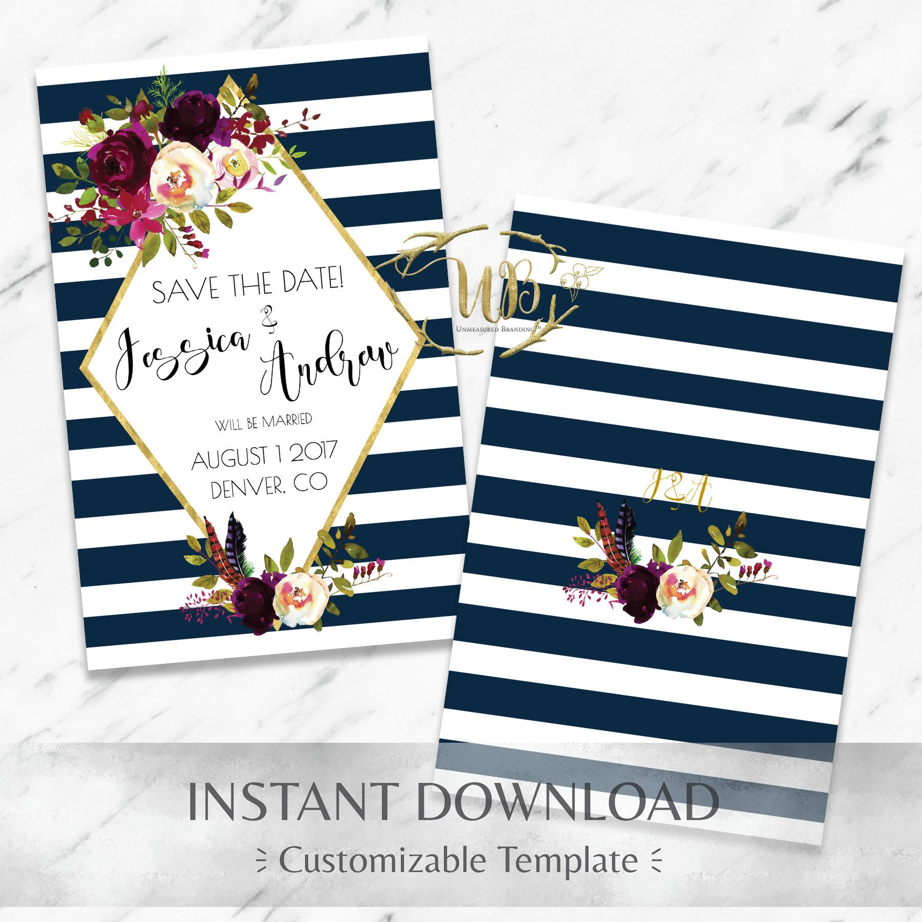 ROSA Bordeaux Wedding Favor Tag Template Burgundy and Navy