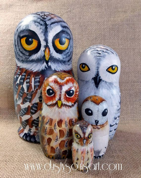 Handpainted Owl nesting doll. Matryoshka. Russian doll. Great grey. Snowy,  Tawny. Barn. Scops. Lindenwood. Wooden ornament. OOAK.