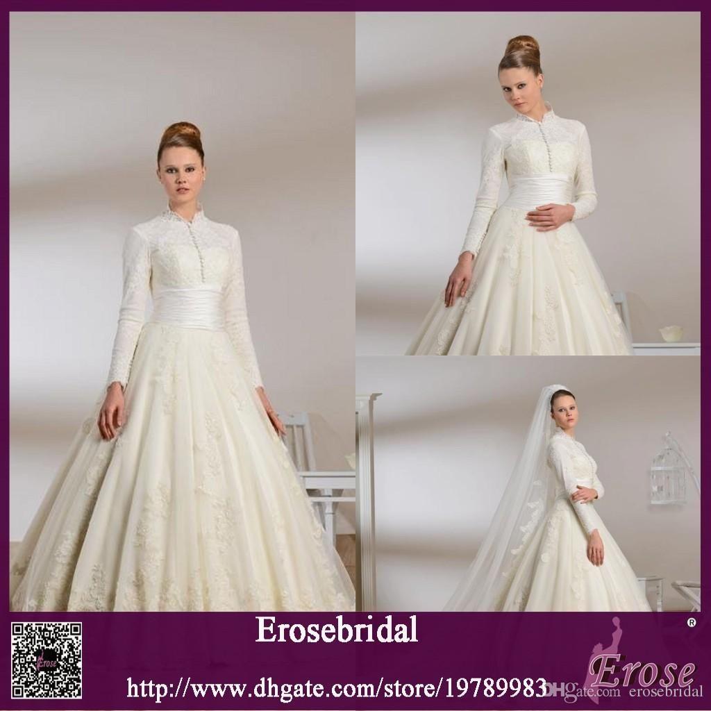2015 Gorgeous High Collar Lace Long Sleeve Muslim Wedding Dress ...