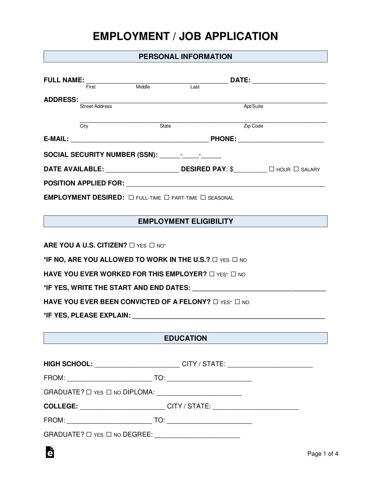 Free Job Application Form Standard Template Word Pdf