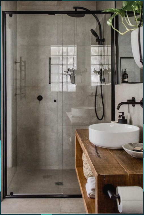 Nice industrial style bathroom. The warm wood tone ensures a warm appearance. - Sarah Williams #Nice #industrial #style #bathroom. #The #warm #wood #tone #ensures #warm #appearance. #Sarah #Williams