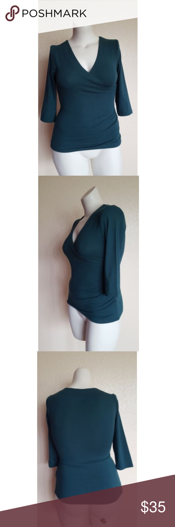 7d1be41afd8 Soft Surroundings 3/4 Sleeve Faux Wrap Top PXS Soft Surroundings 3/4 Sleeve
