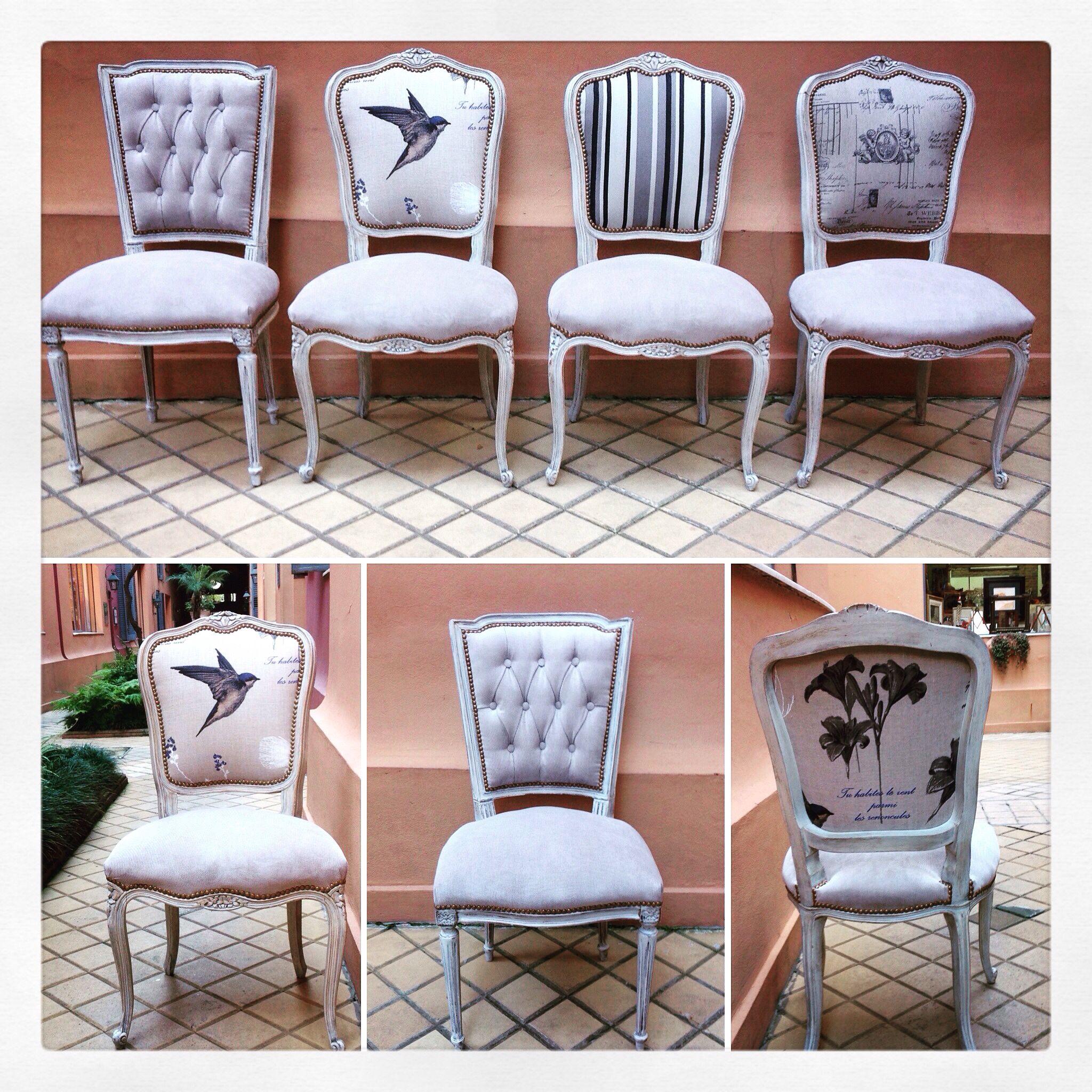 Sillas francesas combinadas dom pinterest upholstery for Sillas clasicas tapizadas modernas