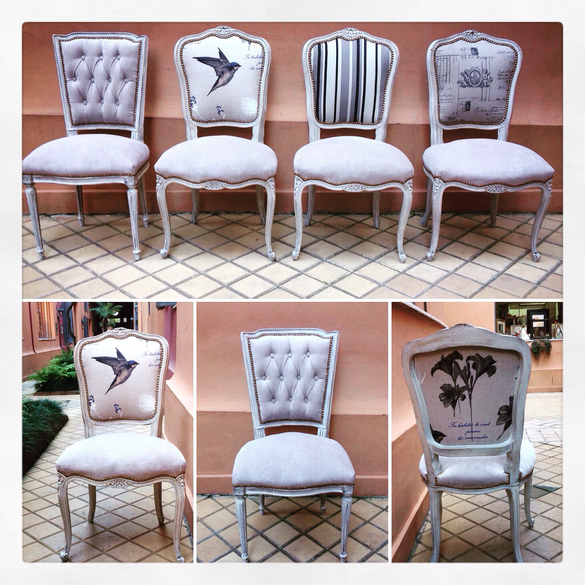 Sillas francesas combinadas dom pinterest upholstery for Sillas modernas vintage