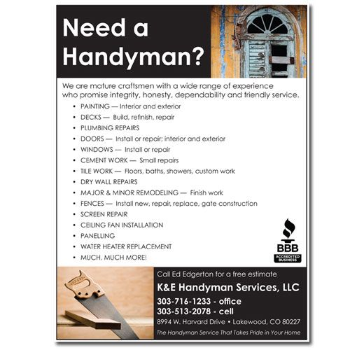 Flyer  Handyman  Design Dog Studio Llc  Handyman