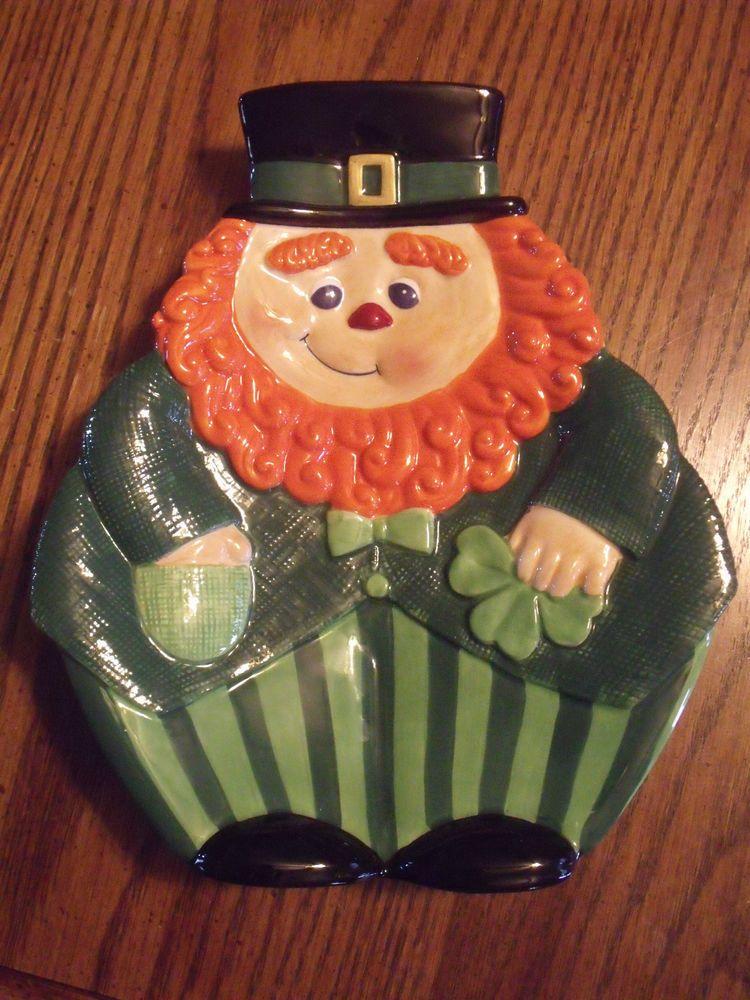 Vtg Fitz & Floyd St Patricks Leprechaun Canape Plate Holiday Luck O' The Irish