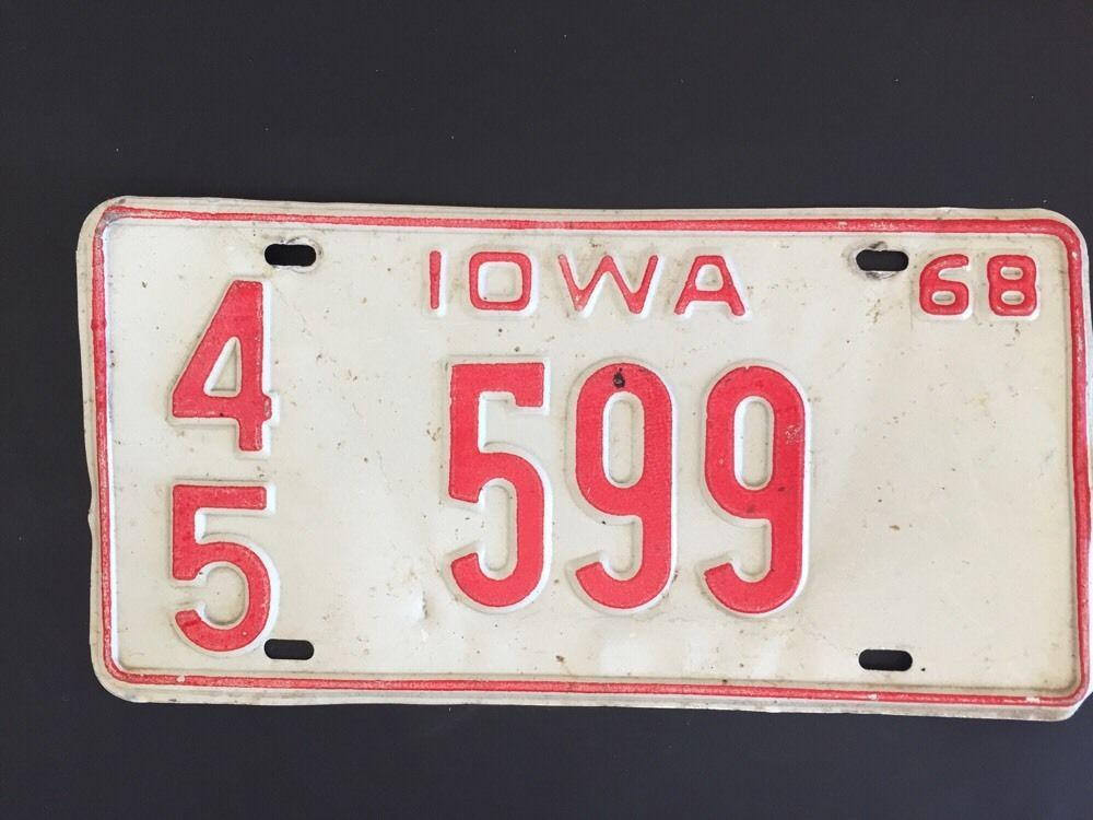 Vintage Car Tag Iowa License Plate 45 599 1968 Awesome Gift Man Cave ...
