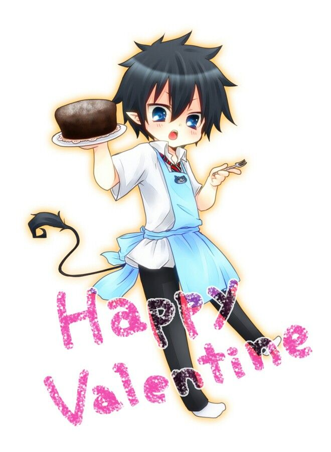 Happy Valentine S Day Text Okumura Rin Cute Apron Blushing