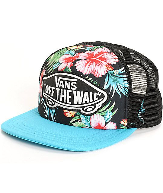 7d43b3c0b1a Stay fresh with the style of this adjustable trucker hat that features a  tropical floral print front panel finishes with a Vans Off The Wall  applique.