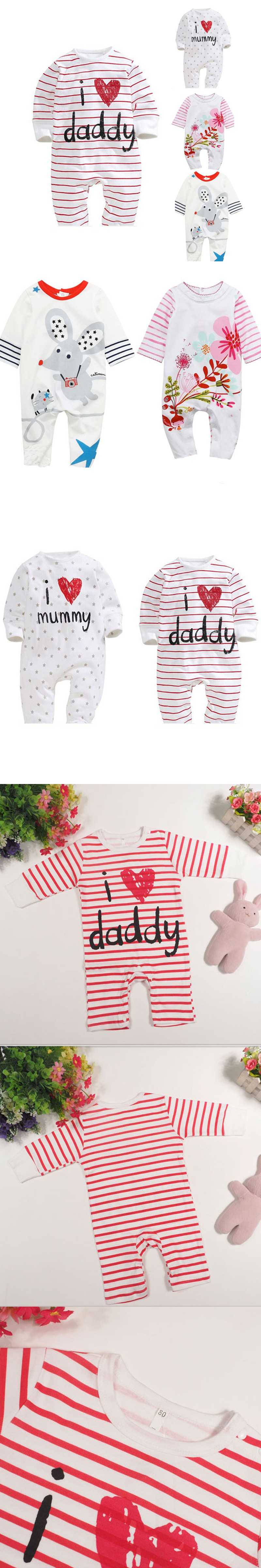 99265b104 Baby Rompers 2016 Newborn I Love Mummy   Daddy Baby Costume Girls ...