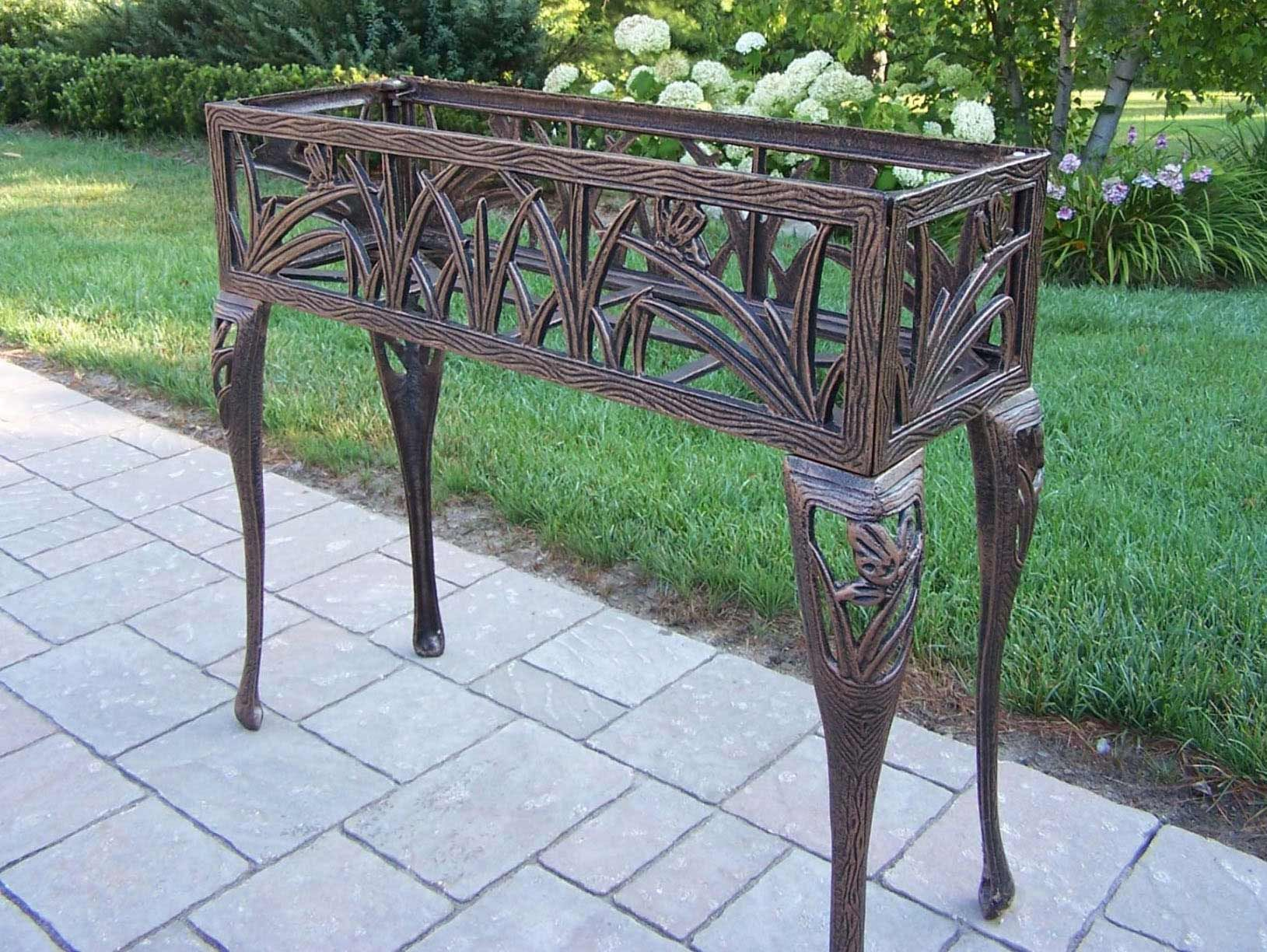 Oakland Living Cast Iron Rectangular Butterfly Plant Stand Plant