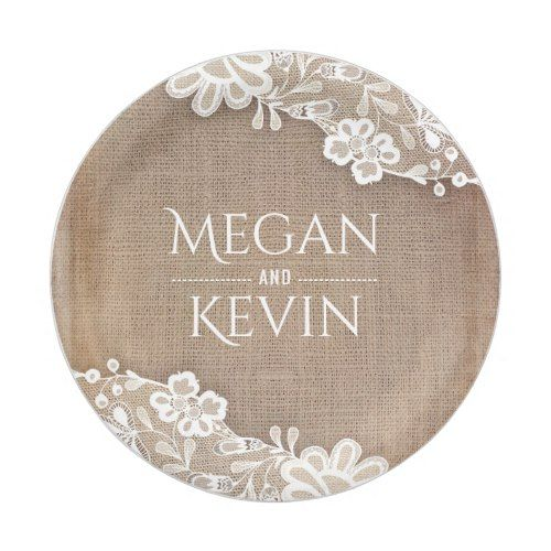 Burlap and Lace Rustic Country Wedding Paper Plate | Rustic country ...