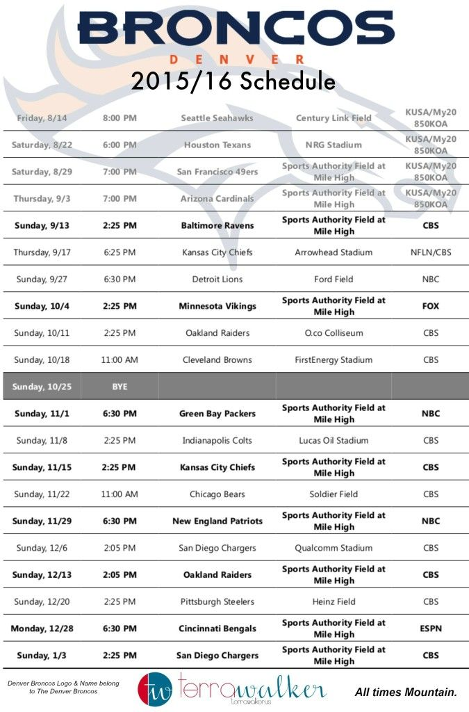 photo regarding Denver Broncos Schedule Printable known as Denver Broncos 2015 Routine #Printable Denver Broncos