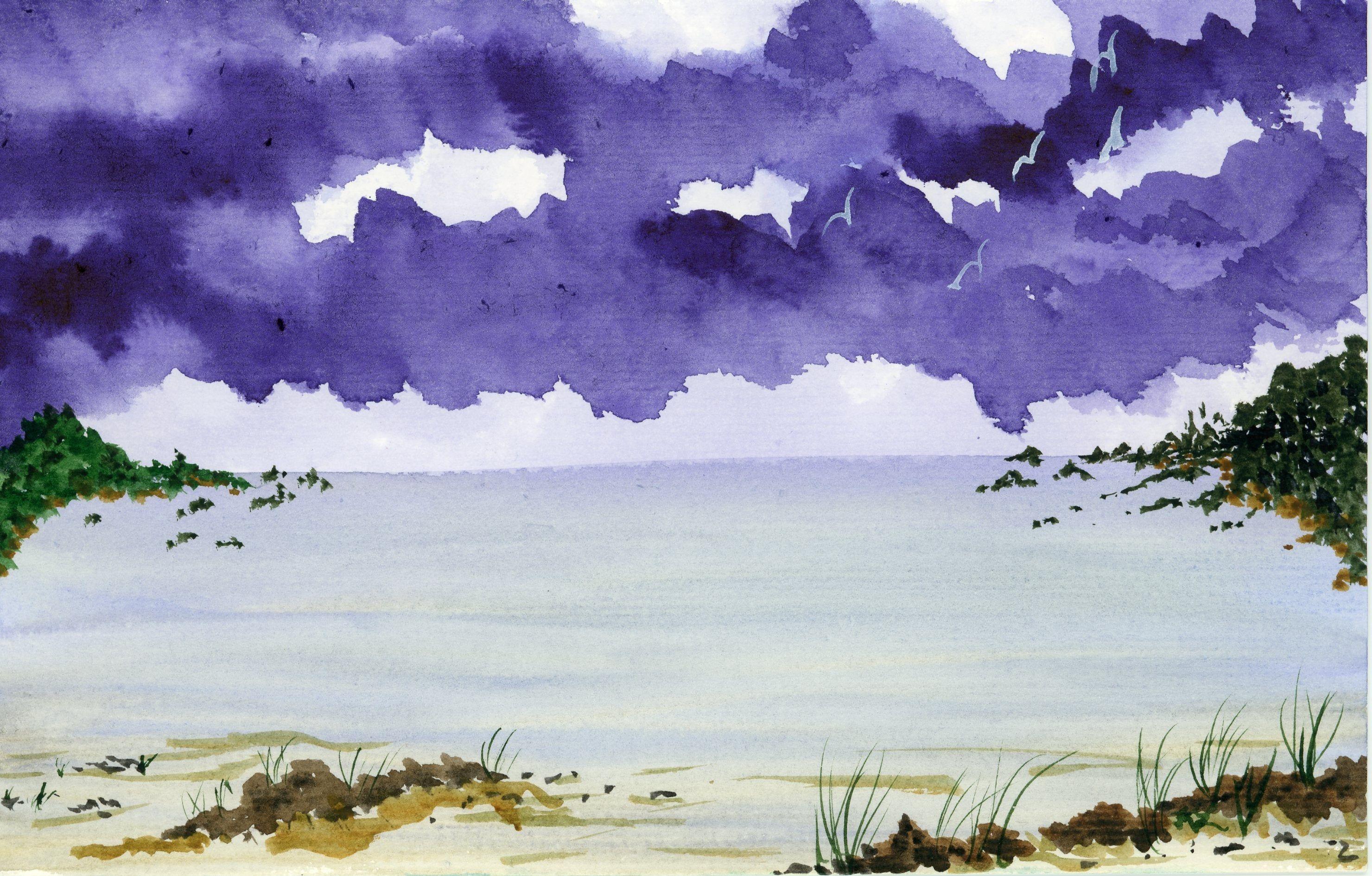 New Watercolor Landscape Purple Clouds 5 5x8 5 Inch Original Not A Print Hand Painted Seascape Cove Ocean Seagulls Sand Rocks Sea Grass Watercolor Landscape Clouds Landscape