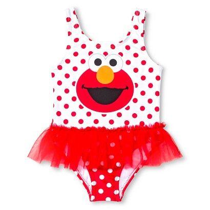 80a7140039 Sesame Street Elmo Baby Girls' 1-Piece Tutu Swimsuit - Red | Baby ...
