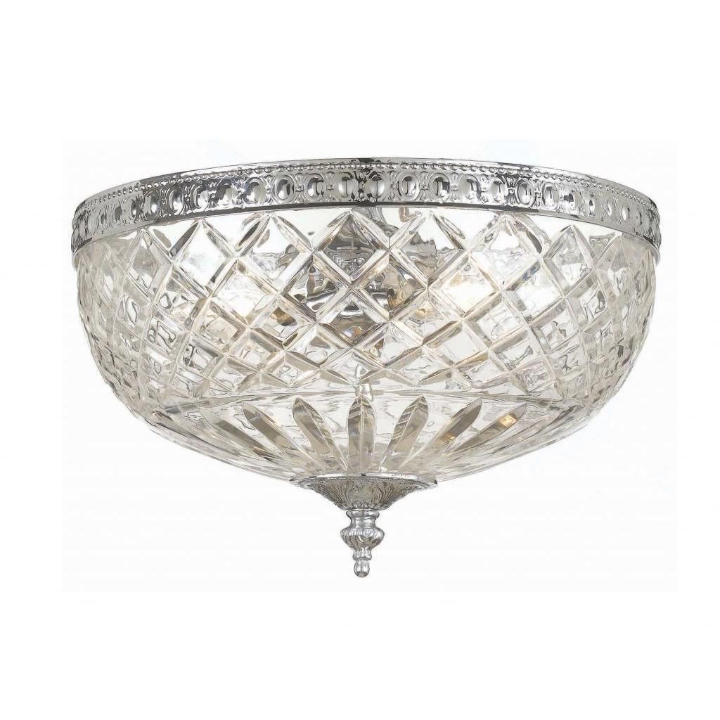 Bring a touch of classic elegance to your home with this flush mount Richmond ceiling light, finished in polished chrome. The glass globe is crafted of 24-percent clear lead crystal, creating a bright illumination and a dazzling effect.