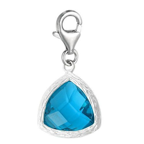 Copper Charm Pendants December Birthstone Triangle Bright Sparkly Silver Cubic Zirconia Faceted