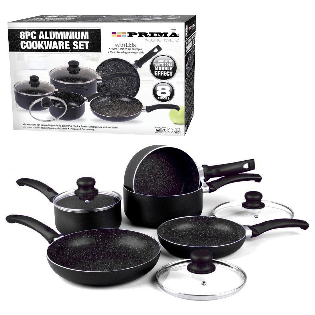 Kitchen Saucepan Frying Pan Pot Set Marble Effect Non Stick