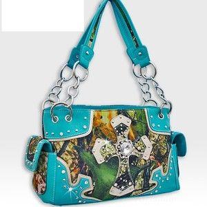 NEW! Turquoise Camouflage Rhinestone Forest Print Cross Handbag - Super Cute!