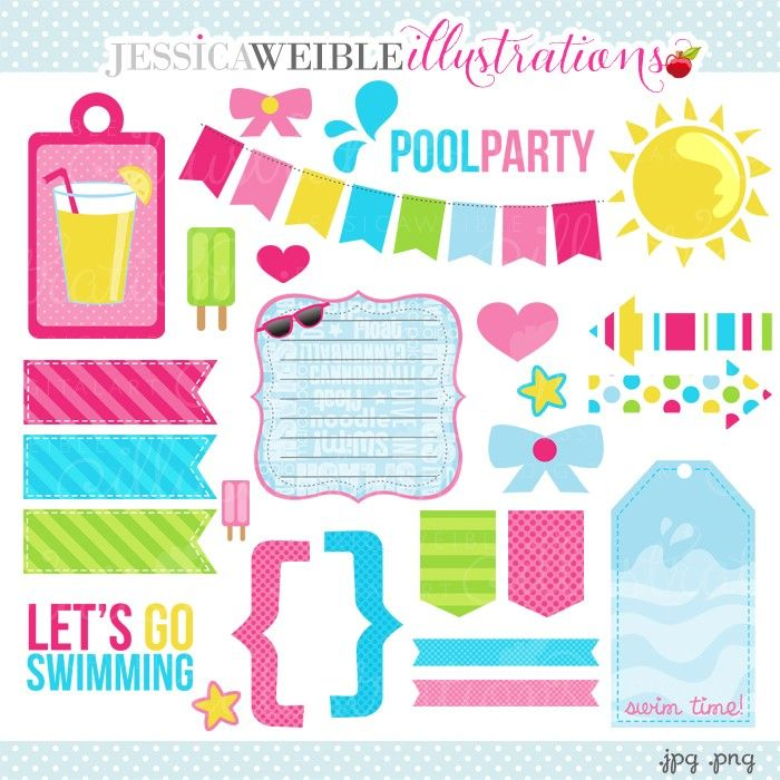 Girls Pool Party Accents Digital Clipart - JW Illustrations | JWI ...