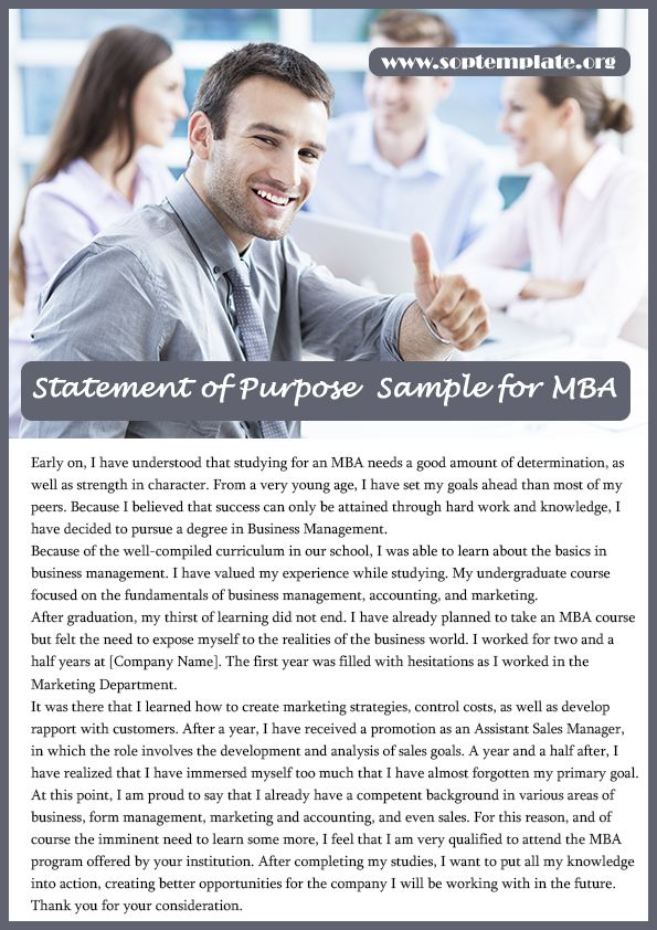 Get The Best Statement Of Purpose Sample For Mba  Sop Template
