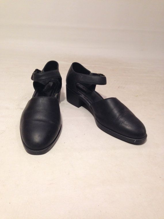 Vintage 90s Black Strappy Black Rounded Toe by AllTheMissingPieces